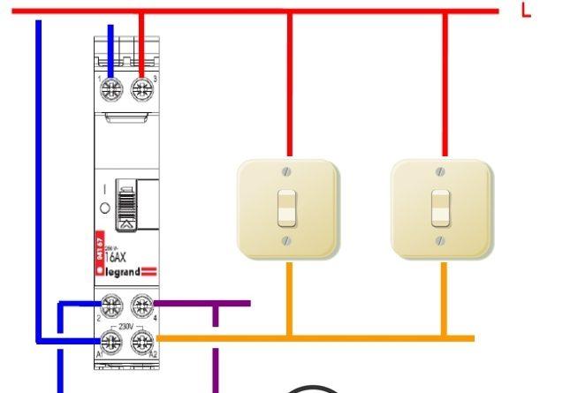 Télérupteur bipolaire avec boutons poussoirs schéma